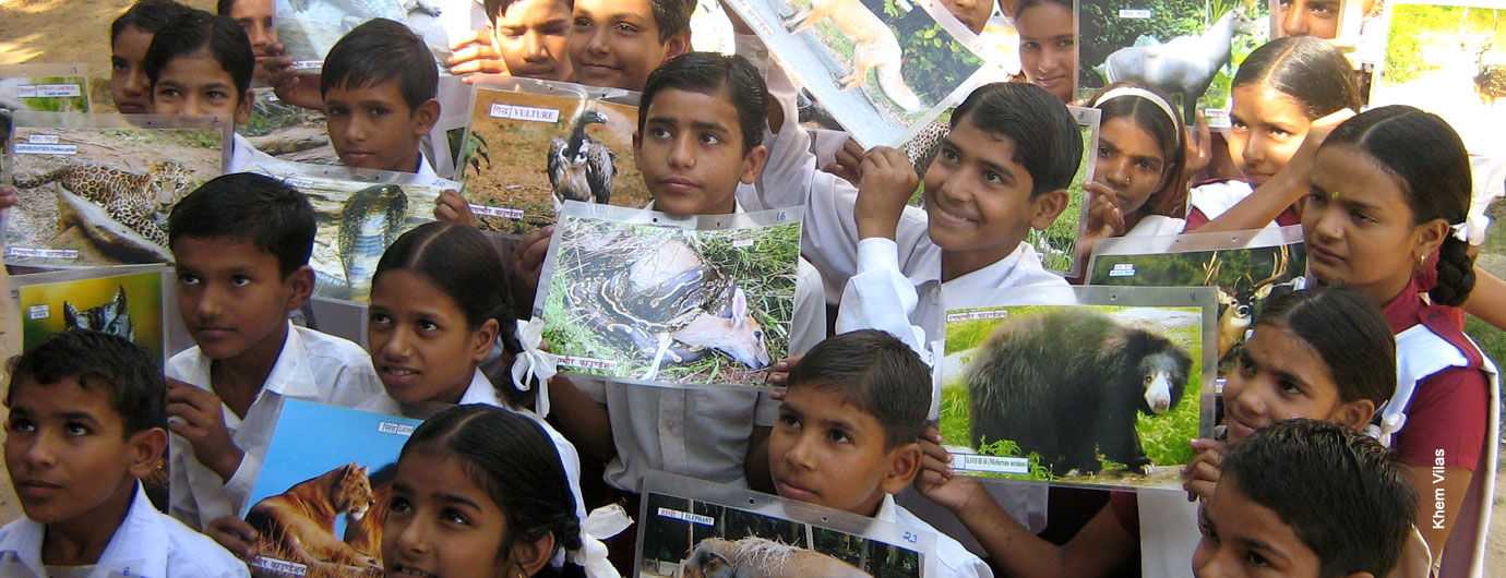 Students from the Fateh Public School taking part in a wildlife conservation programme